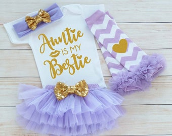 Auntie Is My Bestie, Baby Girl Coming Home Bodysuit, Coming Home Baby Girl, Auntie's Girl Outfit, Baby Shirt, Baby Shower Gift, Infant Shirt