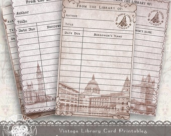 Printable Journal Vintage Library Card, Aged Paper Digital Collage Sheet, Printable Library Card