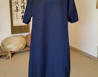 Dress made of kimono, kimono fabric / wool dress / maternity dress / Bulaue dress, dress in wool / dress fabric