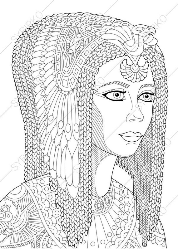 Coloring Pages of Cleopatra Zentangle Doodle Coloring Book