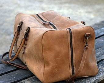 Bon Voyage Leather Duffel Bag - Vintage Carry On - Weekender Bag - Hipster bag - Top Grain Leather Luggage Bag - Gym Bag - Overnight Bag