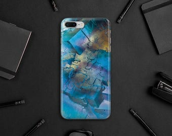 Blue Gold Geometric Nice Marble Case iPhone 7 Plus Handmade Case 6S Plus Case iPhone 6 Case Phone 5s Case iPhone 5c Case SE Wrap Cover MN105