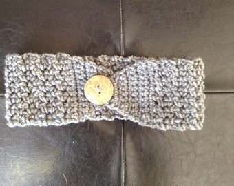 Handmade Crochet Headband with Button