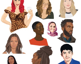 Custom portrait, Couples portrait, Personalized portrait. Family portrait, Pet portrait, Pet memorial, Christmas gift, Portraits, Digital