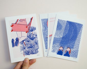 Cards gifts A6 - set of 4 - format 10 x 15 cm each