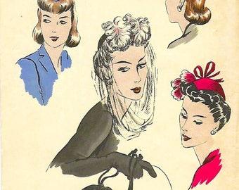 Vintage 1940's Sewing Pattern Vogue Hat & Drawstring Evening Purse Bag Millinery