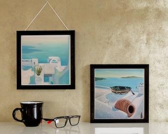 Gifts & mementos,Set of two original Santorini painting,Wedding gifts,Seascape original paintings,Summer wall art,hyperealistic art