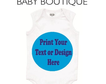 Personalised White Baby Bodysuit - We print any custom Text or Design you like