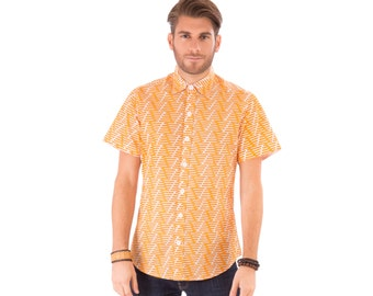 Mens 100% Cotton Short Sleeve Slim Fit Shirt Orange White Print