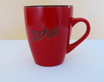 Red LOVE mug by Christian Art Gifts Lovebirds Mug Gift Idea for Engagement