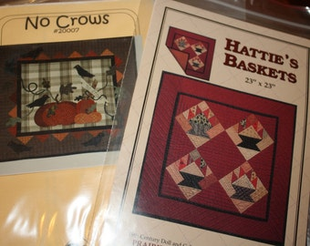 Set of Two Vintage Quilt Patterns Hatties Baskets Prairie Hands No Crows Sealed Unused