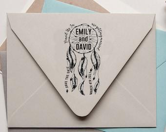 Custom Save The Date Stamp, Wedding Stamp, Dream Dream Catcher Stamp, Designer Invitation Stamp, Personalized Rubber Stamp Self-Ink NHS57C