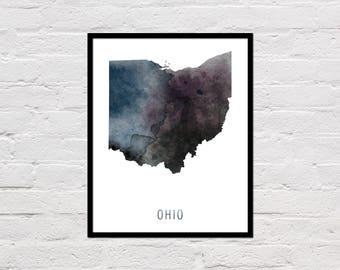 Ohio Map Print, Ohio Art Print, Ohio Printable, Wall Art, Watercolor Map, Ohio Poster, Printable Ohio State Map, Digital Download
