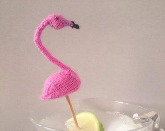 Micro flamingo knitting pattern pdf instant download - hen party knit - cocktail stick flamingo - tiny knitted cake topper pattern