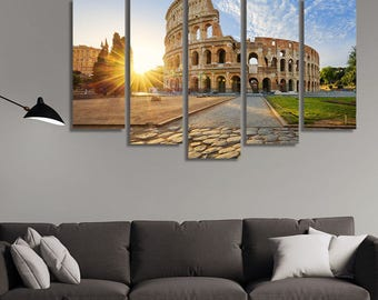 LARGE XL Coliseum in Rome, Italy, Rome Coliseum Canvas Wall Art Print Home Decoration - STRETCHED