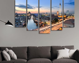 LARGE XL Berlin Skyline Canvas Print Panorama at Sunset Capital of Germany Canvas Wall Art Print Home Decoration - Framed and Stretched