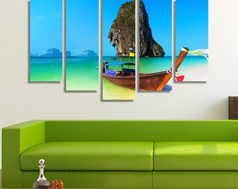 LARGE XL Wooden Boat on a Thailand Beach Canvas Asia Wall Art Print Home Decoration - Framed and Stretched - 4007