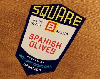 10 Square B - Spanish Olives Jar Labels - South Shore Packing Corp.