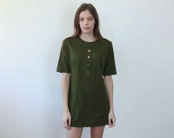 70s Mini Shift Dress // Vintage 1970s Olive Green Dress Button Pocket - Medium