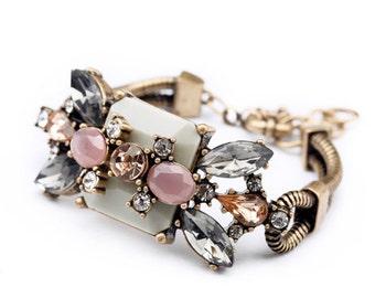 Vintage Inspired Crystal, Soft Pink and Cream Statement Bracelet