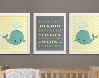 Nautical nursery printable wall art, whales kids room custom colors printable wall decor, playroom art count all the waves quote download