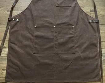 Craftsmans Guild Waxed Canvas Heavy Duty Apron - Shop Utility Tool BBQ Chef Brewer Machinist Woodworking Art