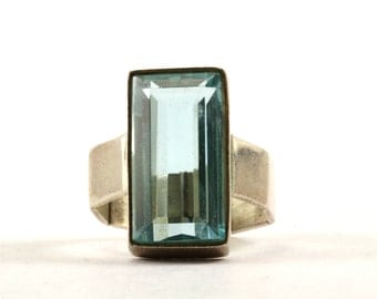 Vintage Emerald Cut Blue Crystal Ring 925 Sterling Silver RG 2106-E