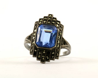 Vintage Blue Sapphire Color Marcasite Crystal Ring 925 Sterling Silver RG 2021-E