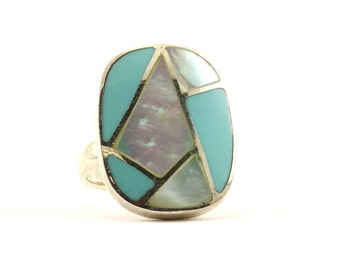 Vintage Rectangular Turquoise Mother of Pearl Ring 925 Sterling Silver RG 1573-E
