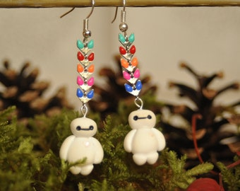 Earrings inspired by Baymax coloured cobs