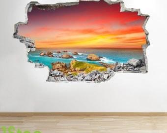 Paradise Beach Sunset Wall Sticker 3d Look - Ocean Sea Beach Bedroom Lounge Z162