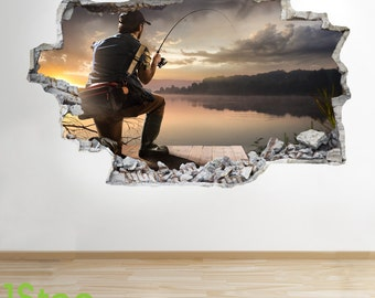 Fishing Wall Sticker 3d Look - Boys Kids Bedroom Extreme Sport Wall Decal Z286