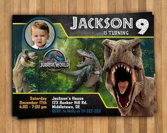 "Jurassic world invitation, Personalized Invitation 5x7"" or 4x6"", digital invitation, invitation, jurasic world, jurassic invitation"