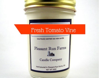 Fresh Tomato Vine - Soy Candles Handmade - Wood Wick Candle - kitchen decor - Gift for Mother - Gift for Dad - Teacher appreciation