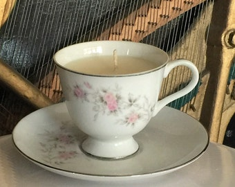 Vintage Pink Floral and White Teacup Candle