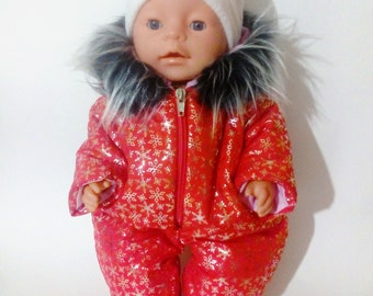 Winter jumpsuit, cap and mittens for a doll Baby Born.