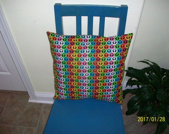 Multi colored Peace Sign print. Pillow Cover. 16x16 Item (8) Free shipping in US