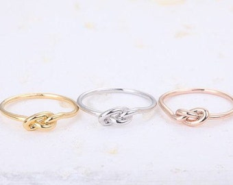 Set of 3 Sterling Silver, Gold Filled and Rose Gold Filled Infinity Knot Rings