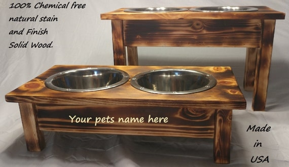 Heavy Duty Elevated Dog 2 Bowl Feeder Raised Stand Food Water