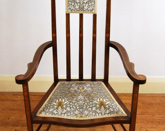 Beautiful Art Nouveau inlaid rectilinear high back armchair in Morris & Co fabric