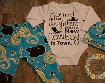 Baby Boys, 3 Months, 6 Months, Cowboy, Personalized, 3 Piece, Baby Shower, Coming Home or Anytime, Super Cute, Western, Outfit