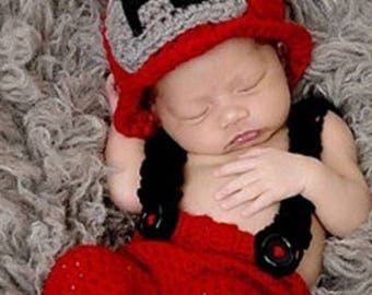 Newborn, Fireman, Crocheted,  Photo Prop with Hat, Pants and Suspenders, Super Adorable!