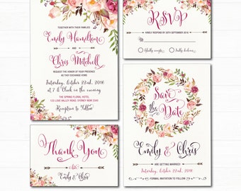 Floral Wedding Invitation Set. Bohemian Watercolor Flower Invitation. Boho Floral Wedding Suite. RSVP Thank You Cards. Save the Date. FLO7