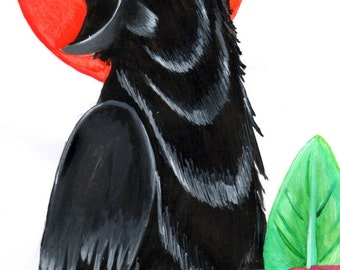 Acrylic Crow Painting Print