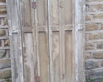 Pair of Vintage Antique French Window Shutters Shutter Doors Three 3 Fold Folding Green Wooden Wood