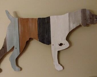 Repurposed Handmade Wood Silhouette of German Shorthaired Pointer