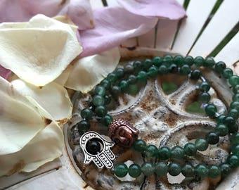 Aventurine Bracelet with Buddha/Hamsa