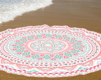 Cotton Towels, Beach round towels, Round yoga mats, Boho beach spread towel
