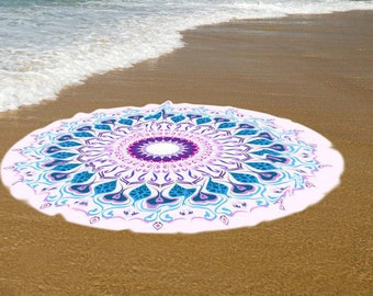 Unique and High Quality round beach towel, Peacock feathers bath twowel/ beach towel