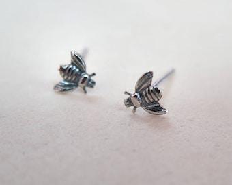 Bee Stud Earrings - Dainty Earrings - Silver Stud Earrings - Honey Bee Earrings -Bee Jewelry - Honey Bee Silver Jewelry - Bumble Bee Jewelry